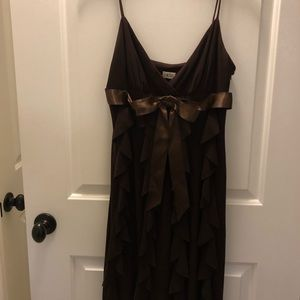 Brown Ruffle Cache spaghetti strapped dress